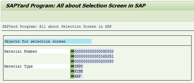 selection screen output report