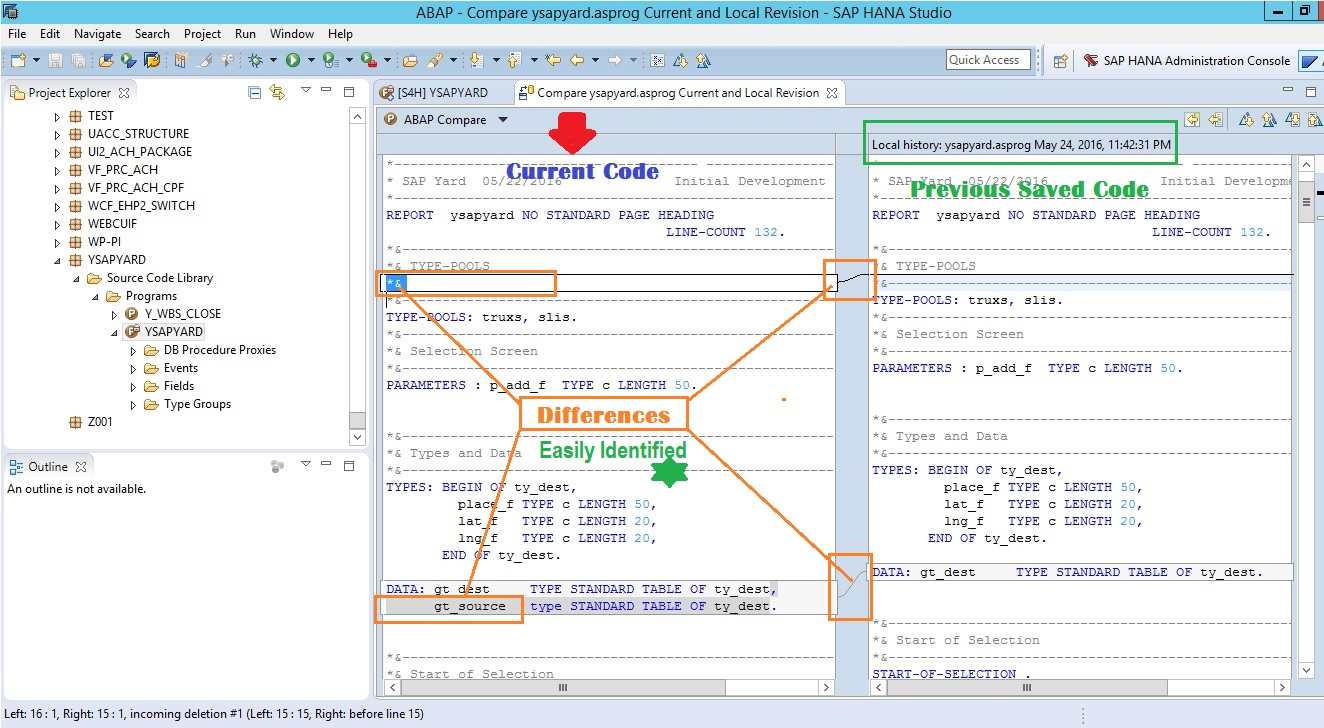 Code comparison in SAP HANA