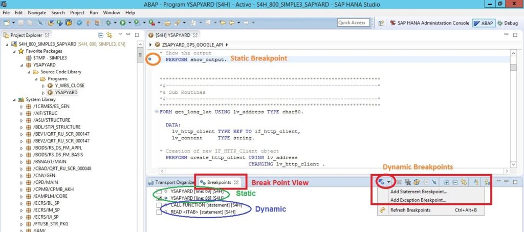 Static and Dynamic Breakpoints in ADT