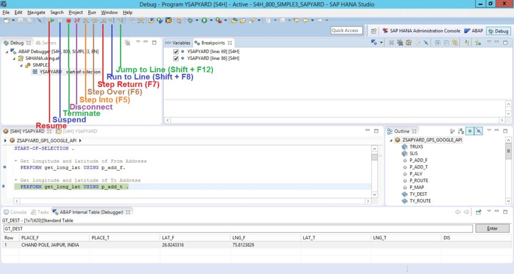 Debug Buttons in HANA Studio