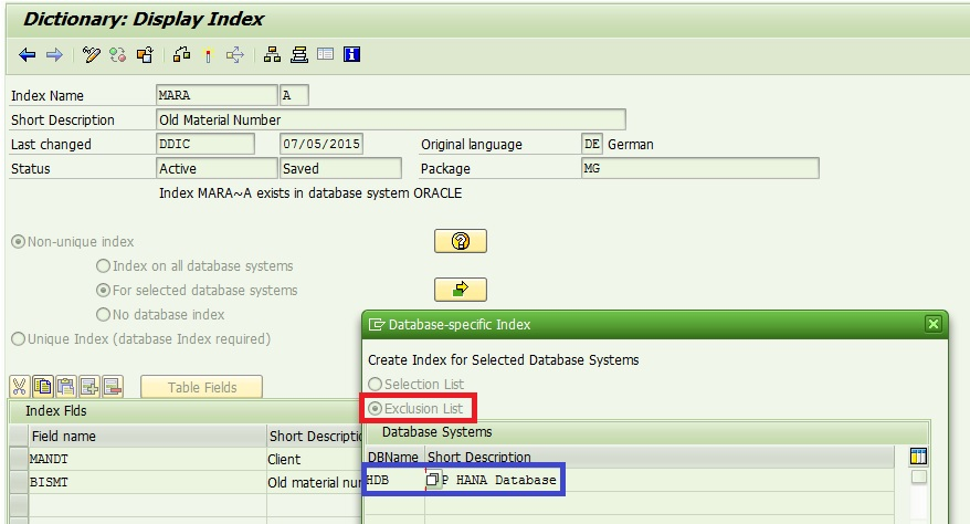 Exclusion of Secondary Index in HANA migration