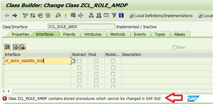 AMDP class cannot be edited in GUI