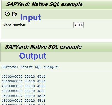 Native SQL output