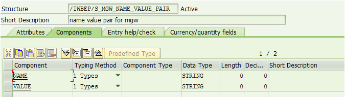 table for name value pairs