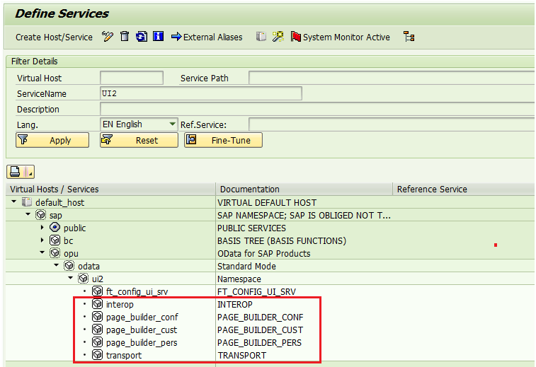 Activate services for Fiori Implementation
