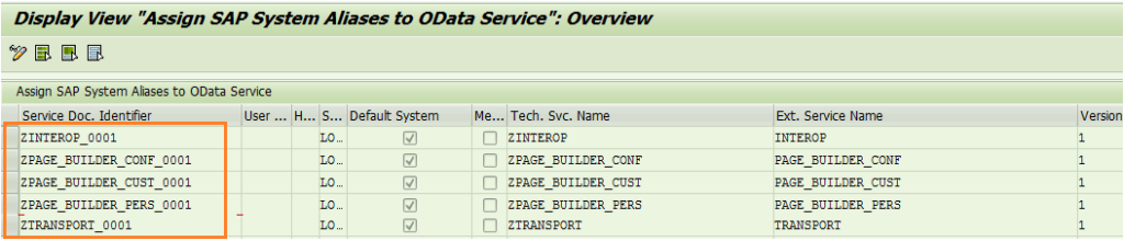 Assign SAP System Aliases to OData Service