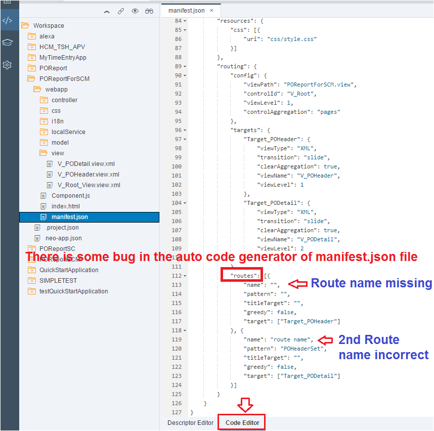code issue in manifest.json file in sapui5