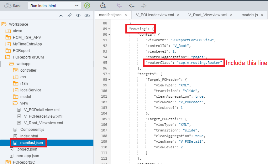 Include the router class in the manifest.json