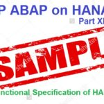ABAP on SAP HANA. Part XIII. Sample Functional Specification of HANA Project