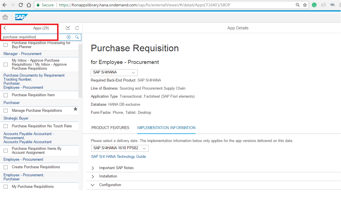 Purchase Requisition Fiori List