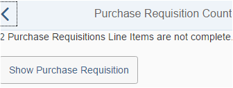 incomplete Purchase Requisition