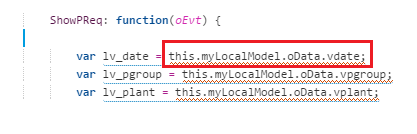 Syntax to read data from local model